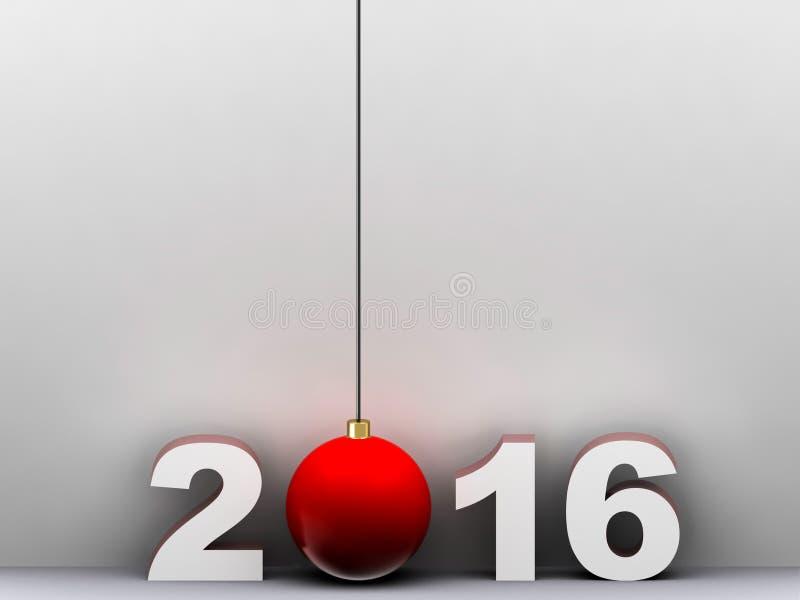 2016 en 3d rinde con la bola de la Navidad fotografía de archivo