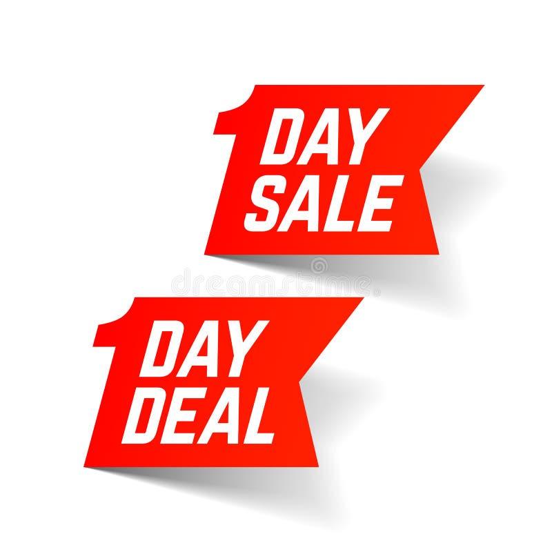 En dag Sale och avtalstecken stock illustrationer