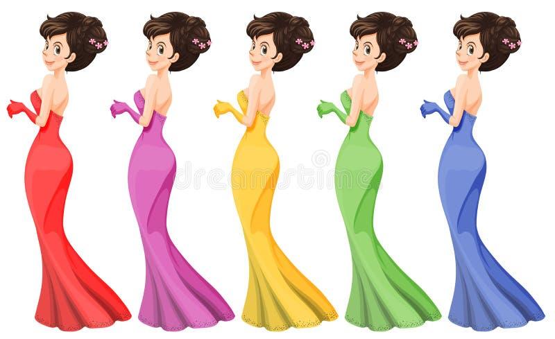 En dam i olika kappor royaltyfri illustrationer