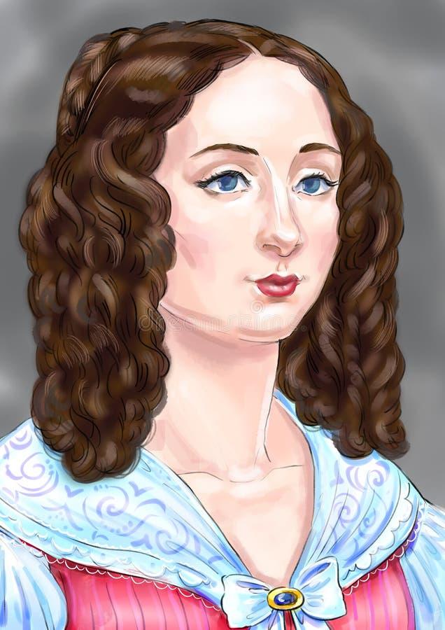 En dam i rosa färger royaltyfri illustrationer
