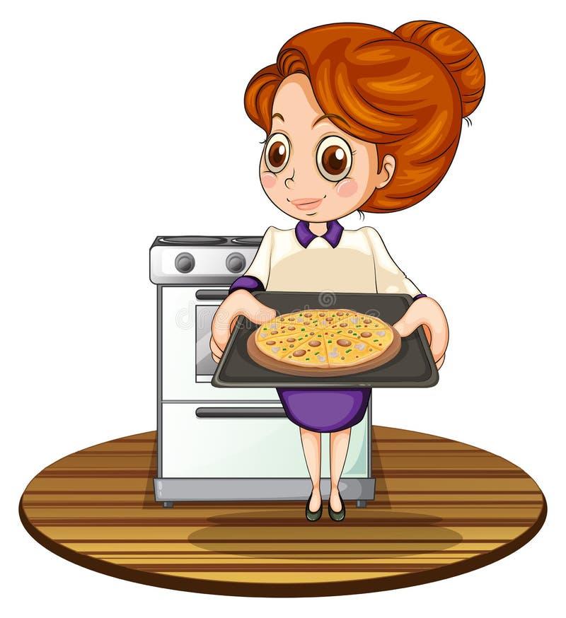 En dam som lagar mat en pizza stock illustrationer