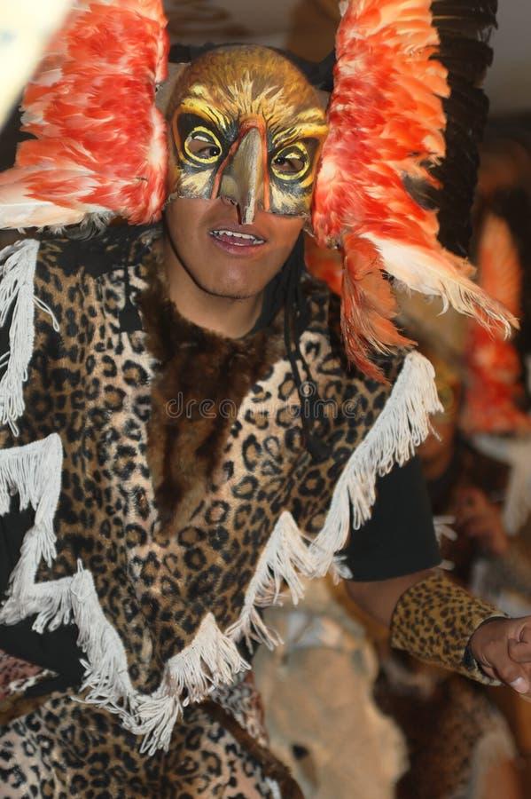 En dansare som utför under festivalen av oskuldde-laen Candelaria i punoen, Peru Folk musikal fotografering för bildbyråer