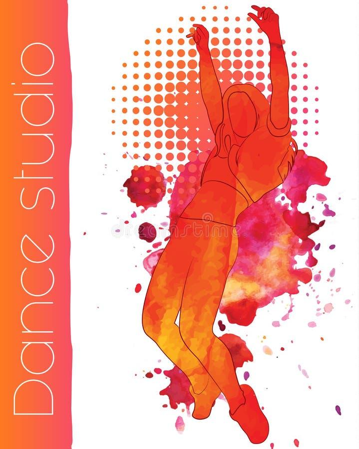 En dansflicka med vattenfärgfläckar royaltyfri illustrationer