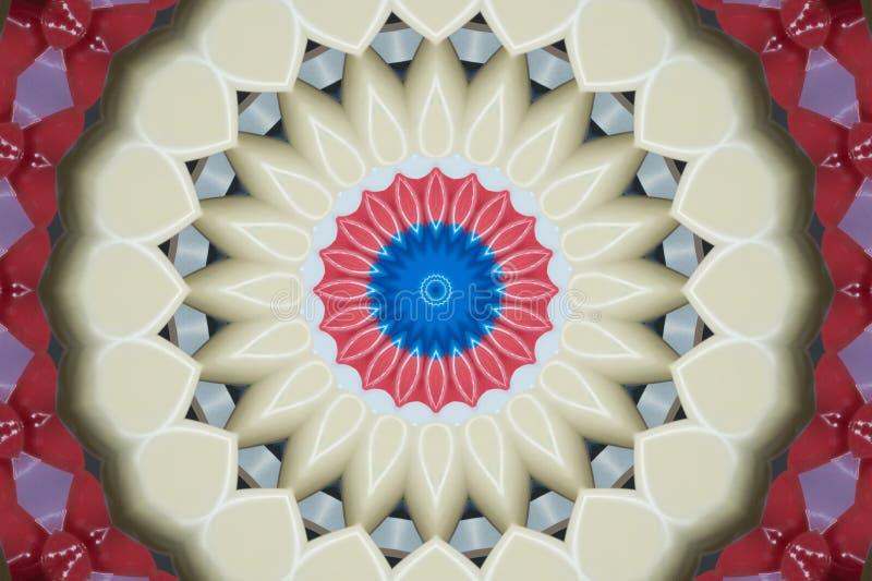 En dator frambragte illustrationen av spirala modeller av röda och beigea blommiga kronblad royaltyfri illustrationer