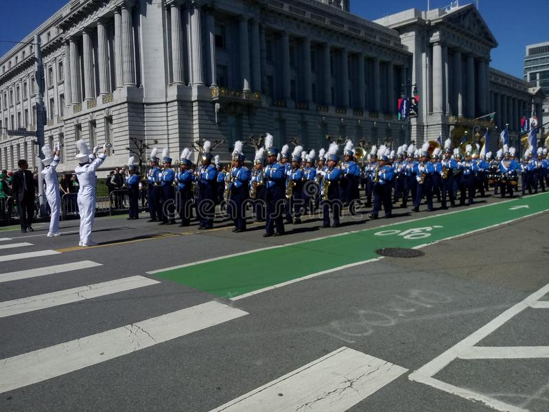 En de band speelde in San Francisco stock afbeeldingen