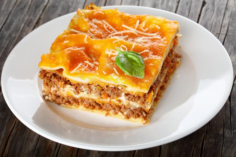 En del av läckra italienska lasagner royaltyfri foto