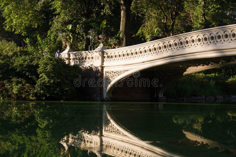 En del av pilbågebron reflekterar klart på sjön på Central Park royaltyfria bilder