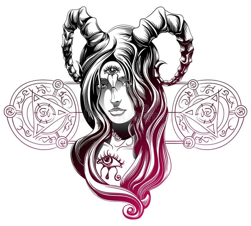 En demonflicka royaltyfri illustrationer