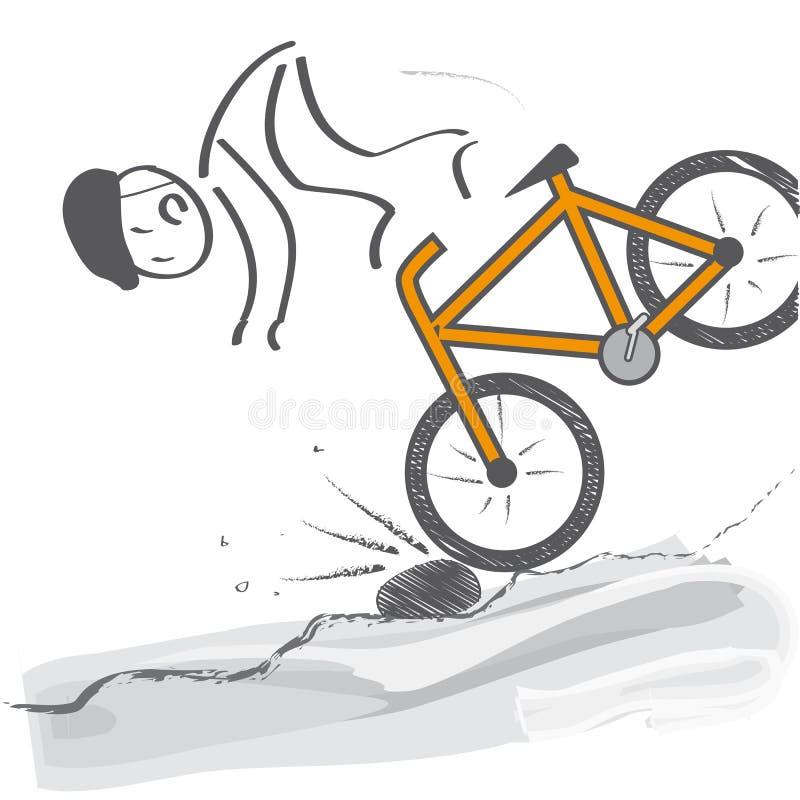 En descendant - le cycliste tombe le vélo illustration libre de droits