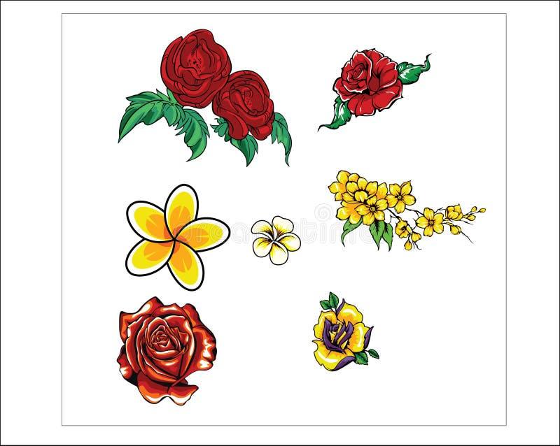 EN DESIGN AV DEN DEKORATIV OCH BLOMMAPRYDNADEN FÖR VEKTOR FÖR ROS, FÖR BLOMMA, vektor illustrationer