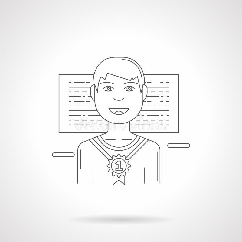 En detaljerad linje illustration för lycklig vinnare vektor illustrationer