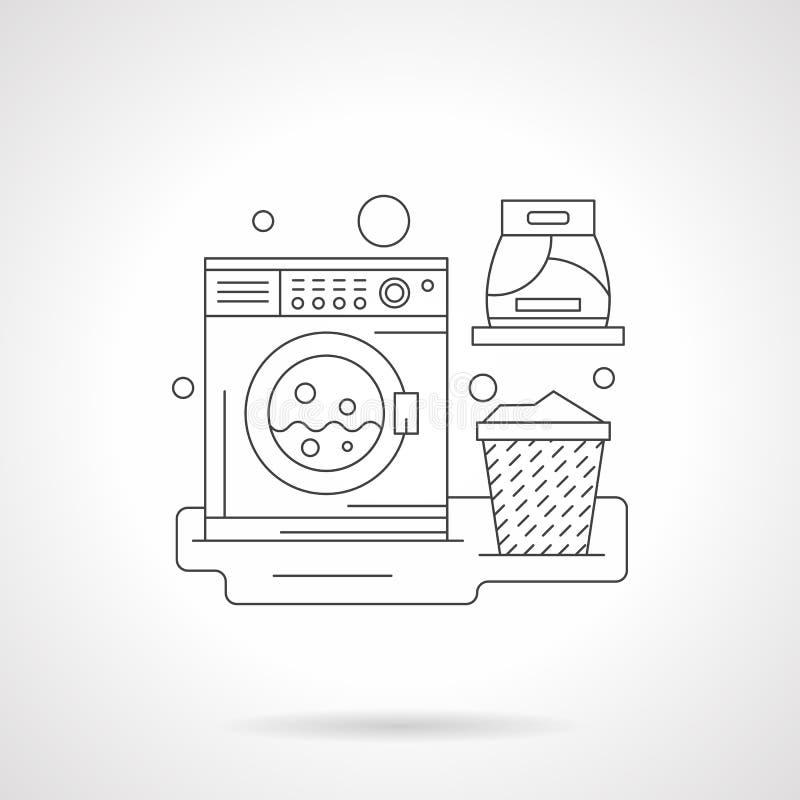 En detaljerad linje illustration för tvättstuga vektor illustrationer