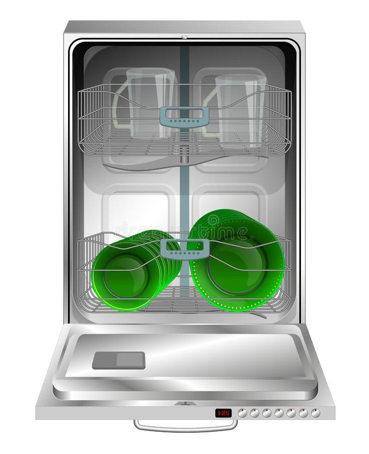 En detaljerad modern diskare med en öppen dörr modernt kök royaltyfri illustrationer