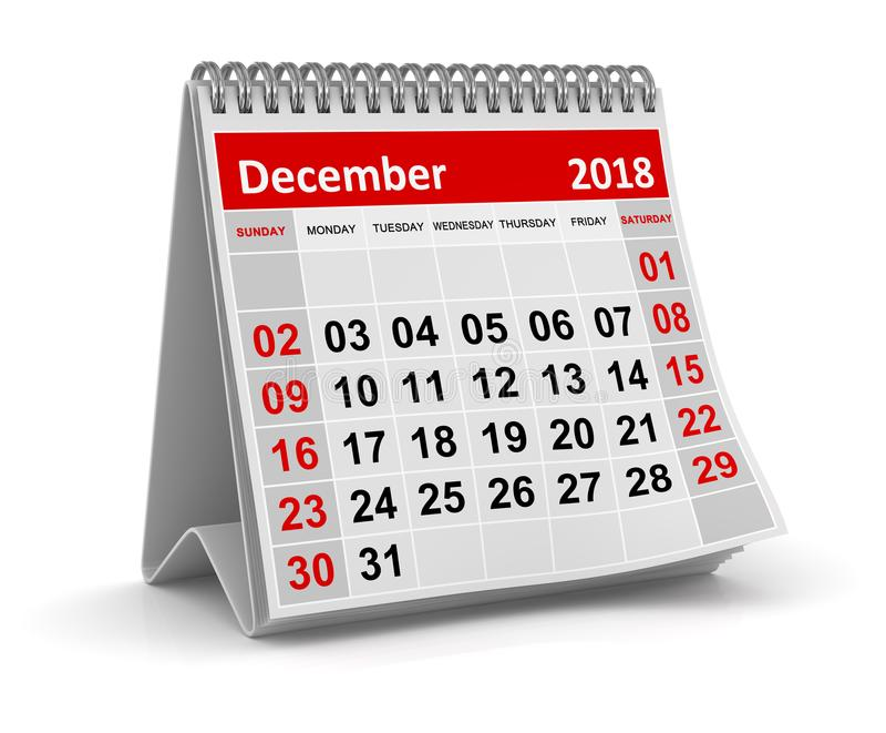 En diciembre de 2018 - calendario ilustración del vector