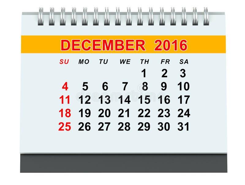 En diciembre de 2016 calendario libre illustration