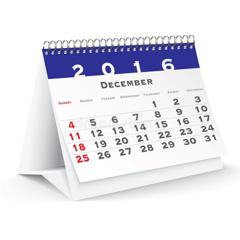 En diciembre de 2016 calendario de escritorio ilustración del vector