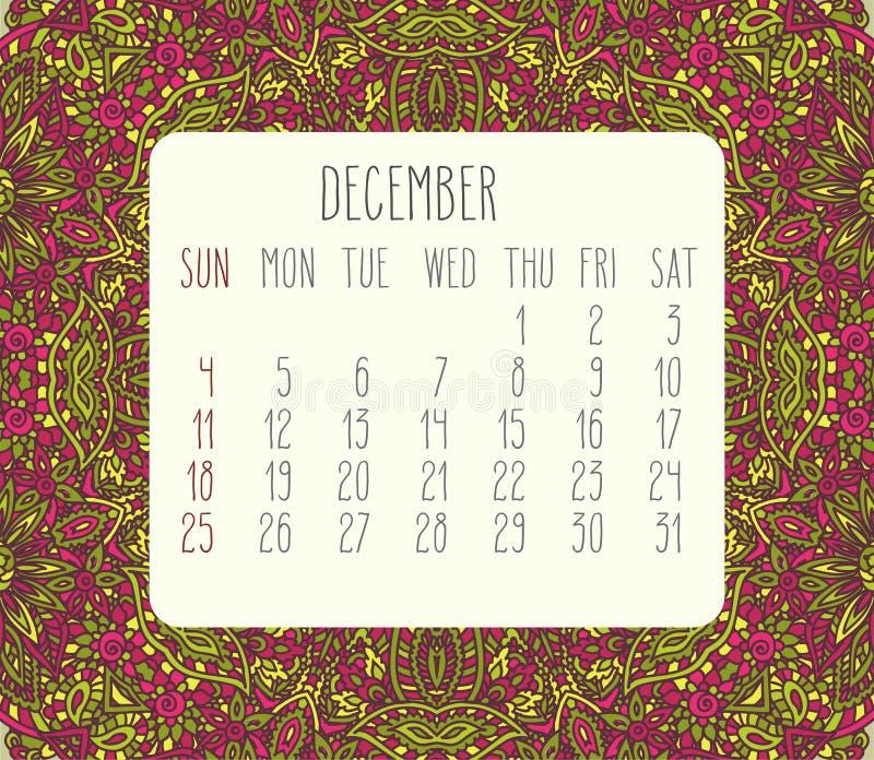 En diciembre de 2016 calendario mensual stock de ilustración