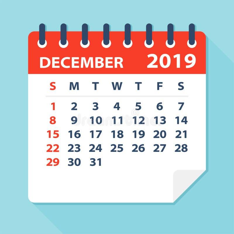 En diciembre de 2019 hoja del calendario - ejemplo del vector stock de ilustración