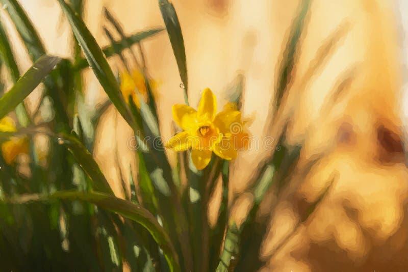 En digital målning av en härlig enkel gul påsklilja i en naturlig miljö royaltyfri bild