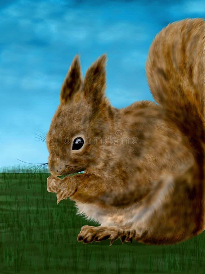 En digital målning för gullig och rolig illustration av en mycket oskyldig ekorre vektor illustrationer