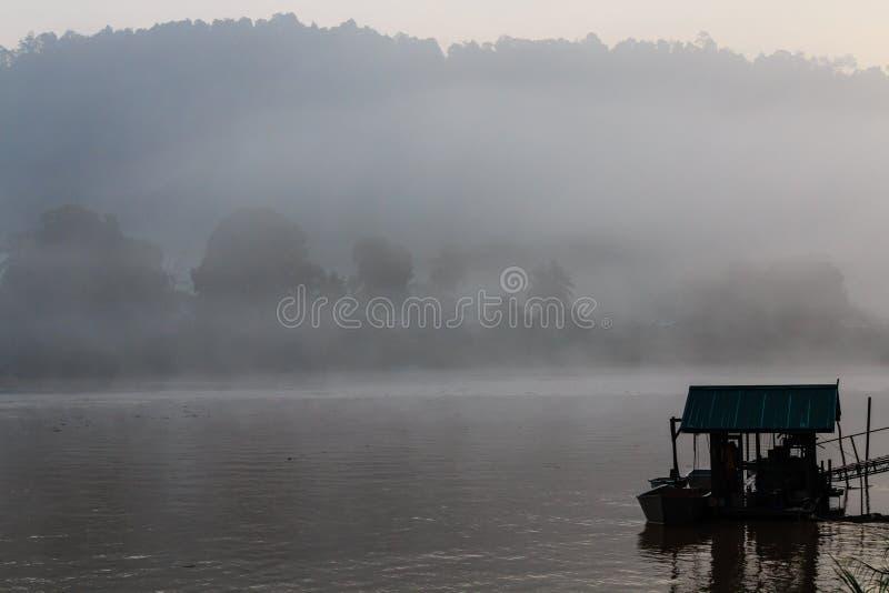 En dimmig gryning över en flod i en tropisk rainforest arkivbild