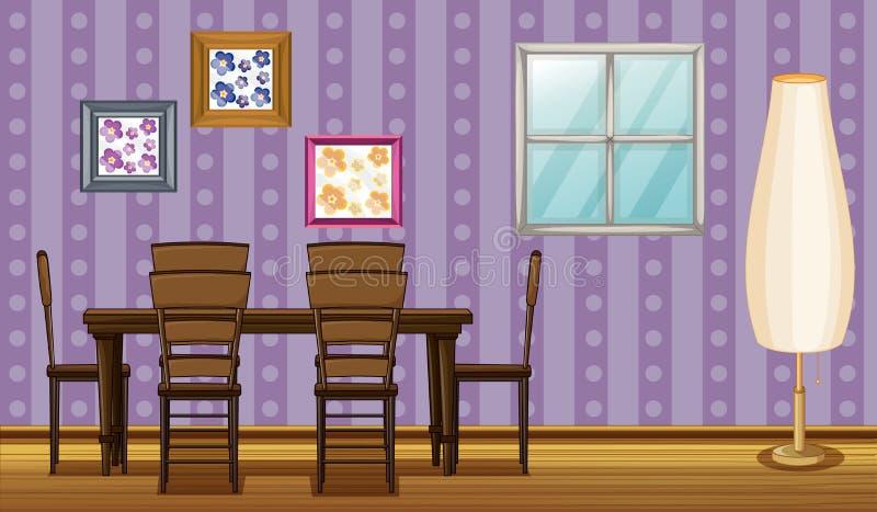 En dinning tabell och en lampa stock illustrationer