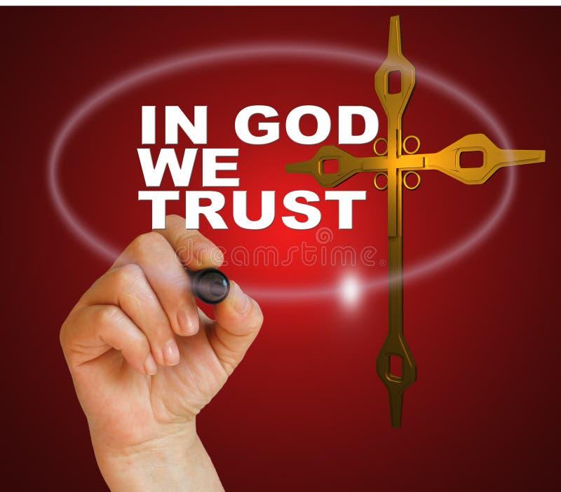En dios confiamos en ilustración del vector