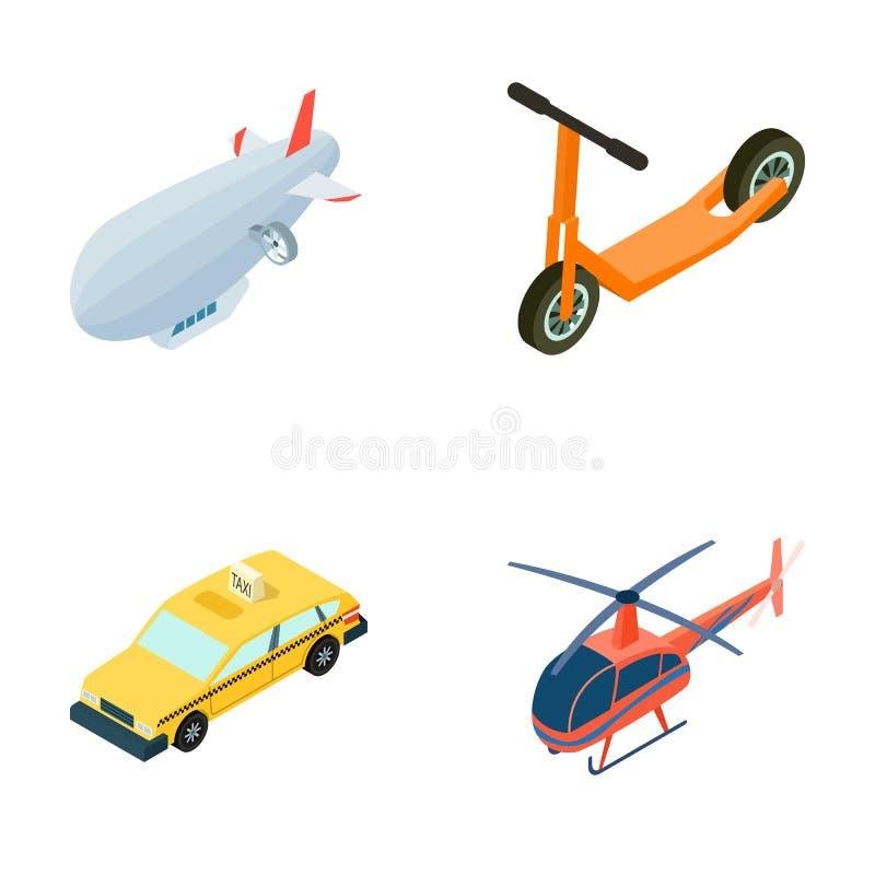 En dirigible, en sparkcykel för barn s, en taxi, en helikopter Utformar fastställda samlingssymboler för transport i tecknad film vektor illustrationer