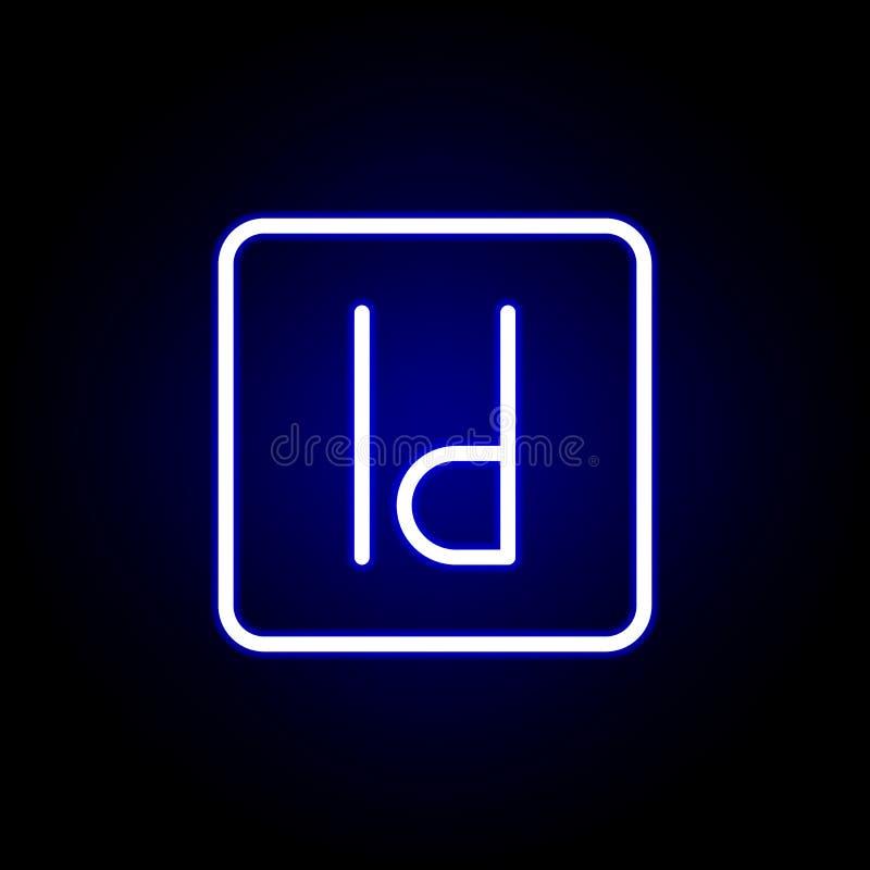 En diseño, icono de la identificación en el estilo de neón Puede ser utilizado para la web, logotipo, app m?vil, UI, UX stock de ilustración