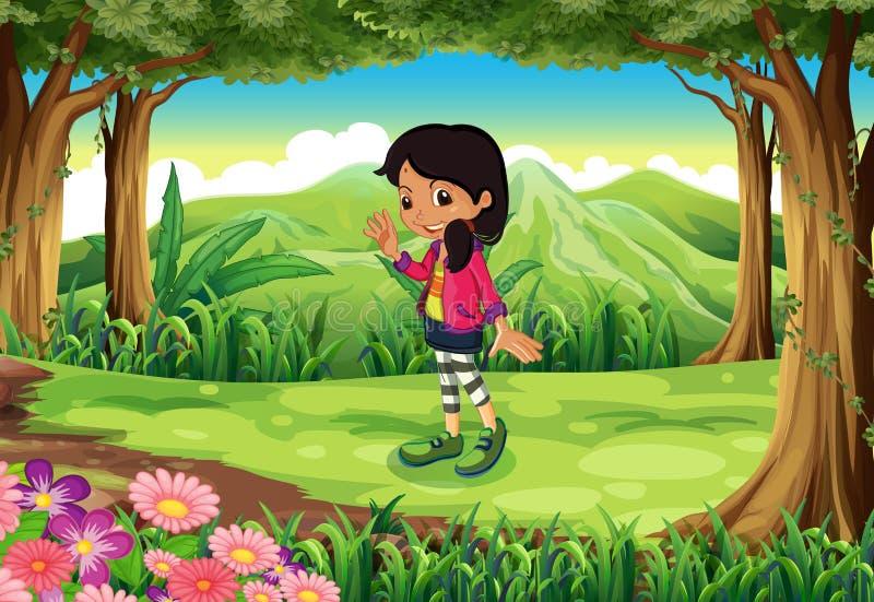 En djungel med en trendig ung flicka royaltyfri illustrationer