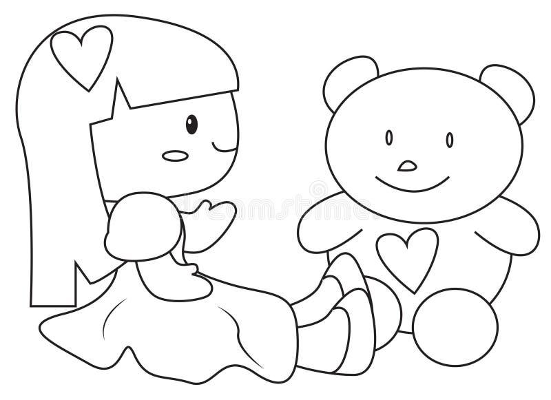 En docka och en nallebjörn som färgar sidan vektor illustrationer