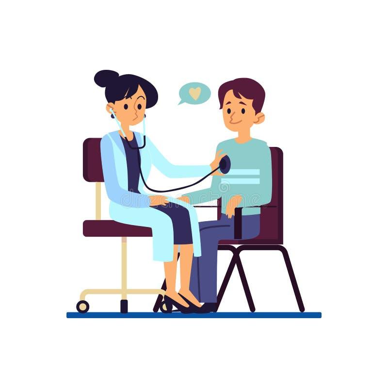 En doktor undersöker hjärtan av hennes tålmodiga man på sjukvården, plana den isolerade vektorillustrationen för kliniken stock illustrationer