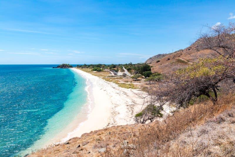 En dollarstrand Idillic gul sandig strand av Östtimor, Timor-Leste Kustlinje med kullar, berg och torr savann arkivbilder