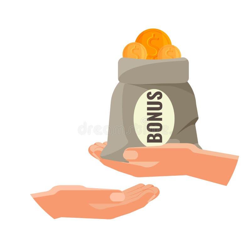 En donnant l'argent dans le sac avec la bonification textotez le concept Une personne donnent l'argent illustration stock