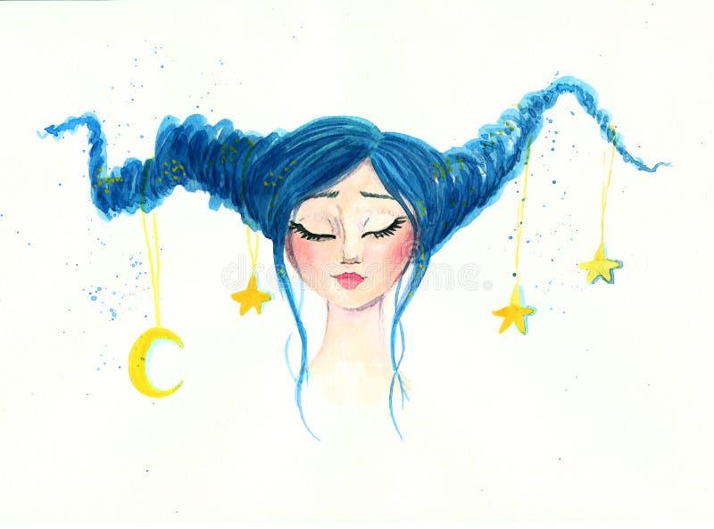 En drömlik flicka med månen och stjärnorna i hennes hår royaltyfri illustrationer