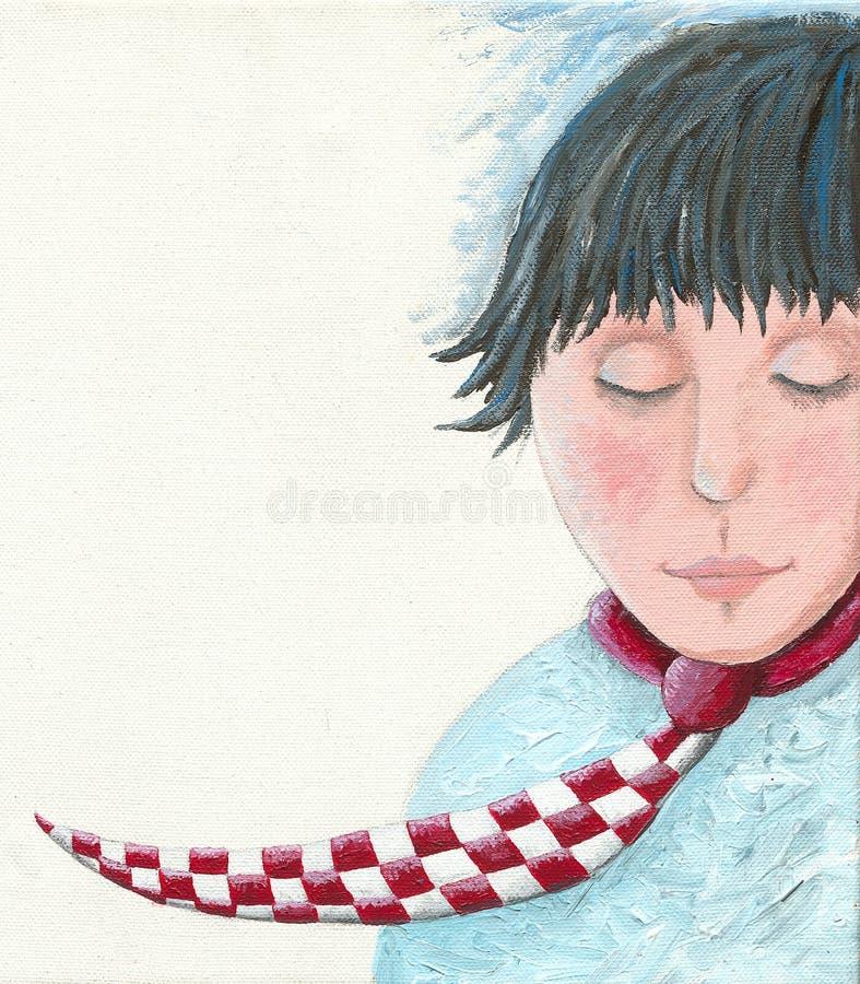 En drömlik ung man med ett band stock illustrationer
