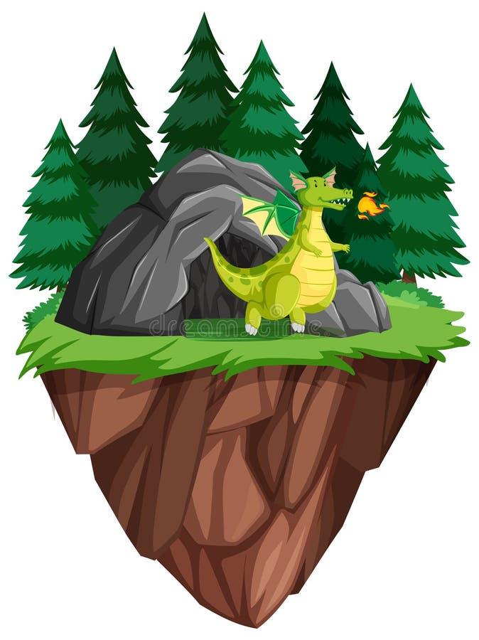 En drake bor i grottan royaltyfri illustrationer