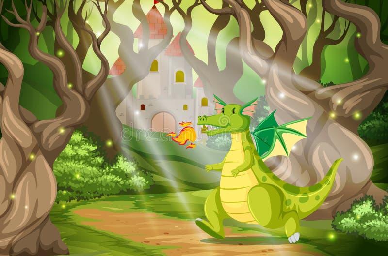En drake i skogslotten vektor illustrationer