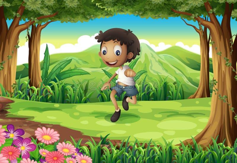 En driftig ung pojke i mitt av skogen vektor illustrationer