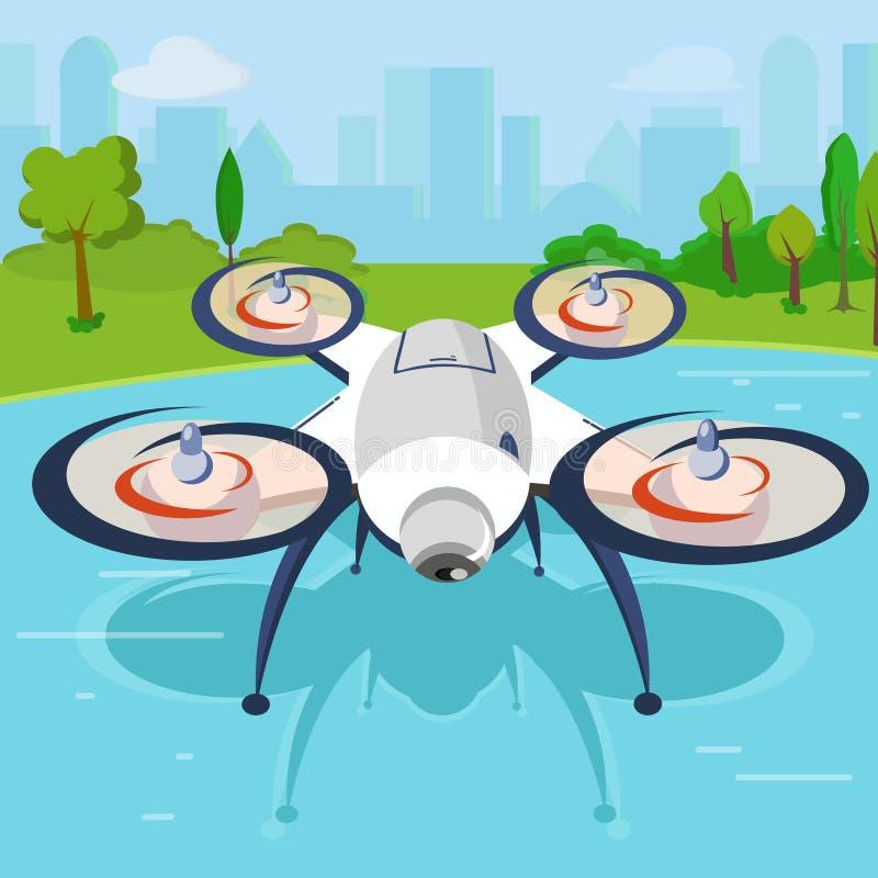 En dron med kamera vektor illustrationer