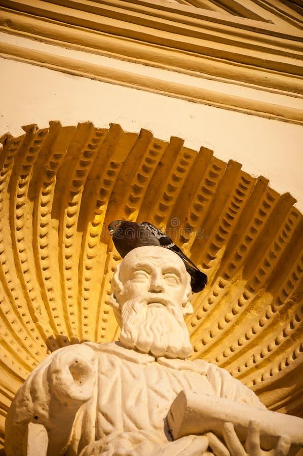 En duva på huvudet av en staty på den St James domkyrkan, Antigua royaltyfri foto