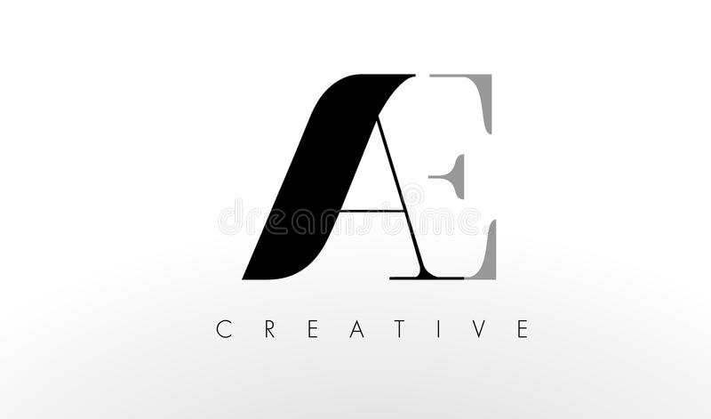 En e-bokstav Logo Design Idérik AC märker symbolen stock illustrationer