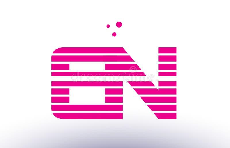 en e n桃红色紫色线条纹字母表信件商标传染媒介templ 向量例证