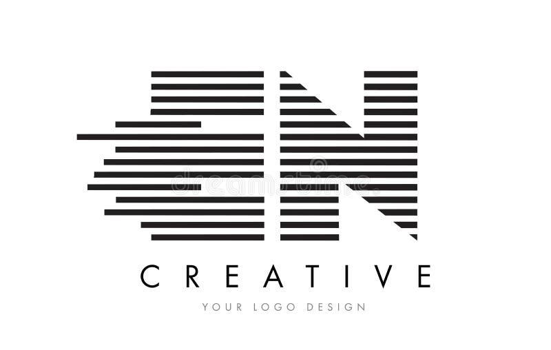 EN E N Zebra Letter Logo Design with Black and White Stripes vector illustration