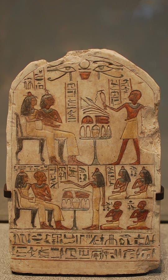 En egyptisk hieroglyferrelik arkivbild