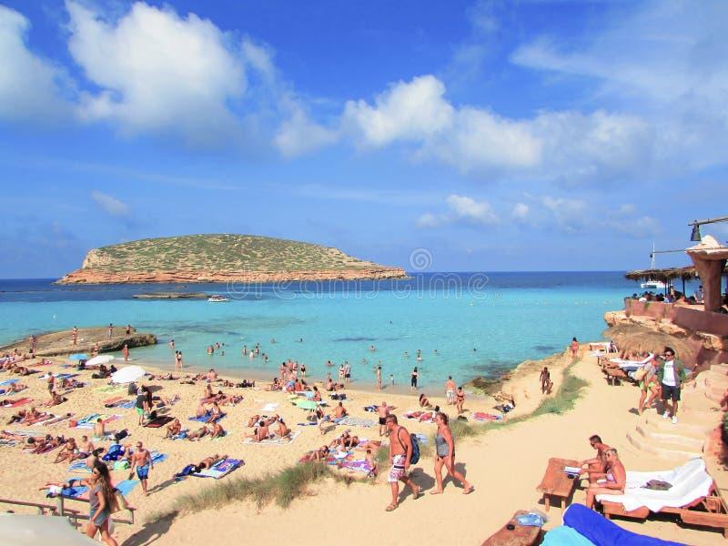En Eivissa de Playa Cala Comte fotografia de stock