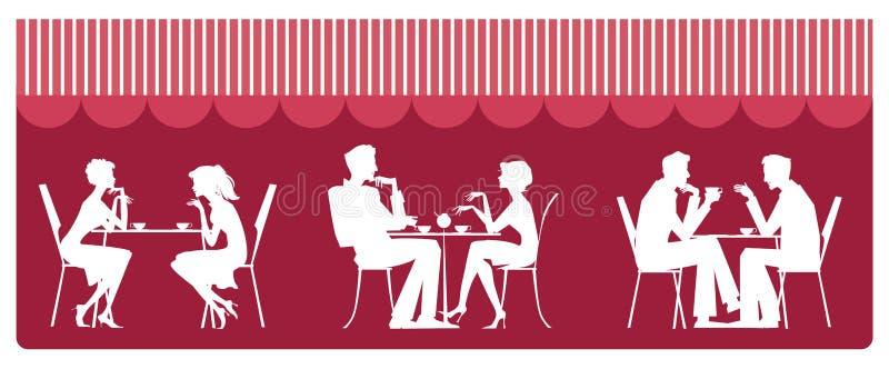 En el café ilustración del vector