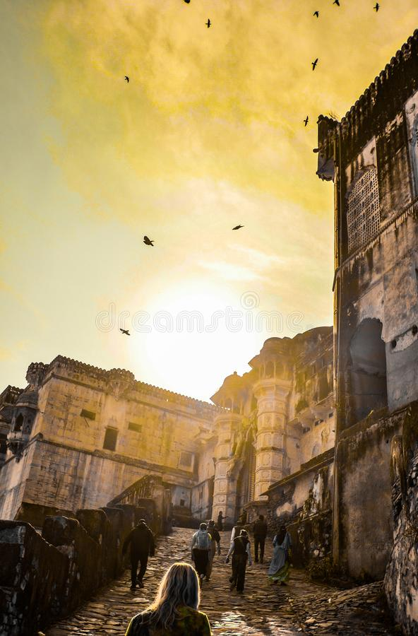 En el camino al palacio de Bundi, Rajastan, la India imagen de archivo libre de regalías