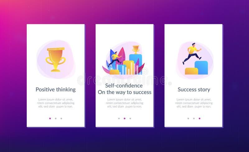 En el camino a la plantilla del interfaz del app del éxito ilustración del vector