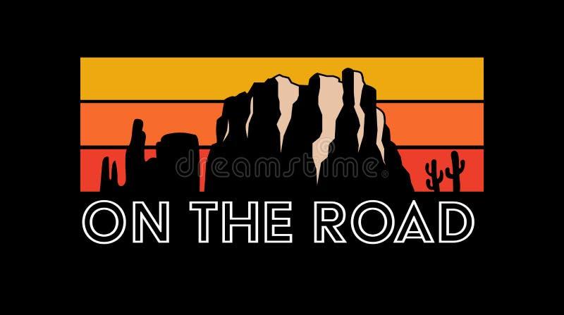 En el camino, viaje por carretera, lema, tipografía, gráfico de la camiseta, impreso stock de ilustración